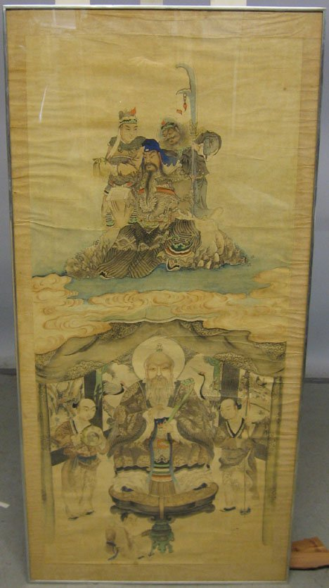 1423: CHINESE PAINTING OF HEAVENLY GODS AND AN EARTHLY