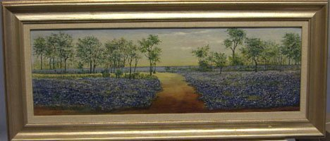 1428: A.R. JOSEPH - LANDSCAPE WITH FLOWERS, , Signed bo