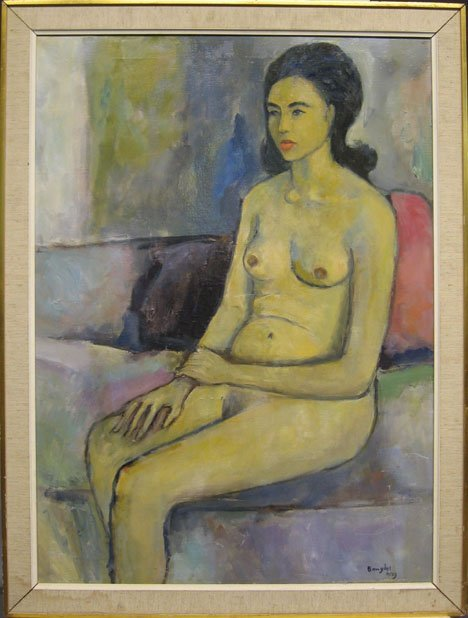 1429: SITTING NUDE, , Signed and dated bottom righrt: B