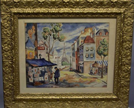 1431: MORIS GRUNBERG - CITY SCENE IN PARIS, , Signed bo