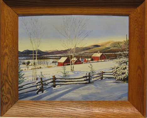 1435: J.W. HUGGINS - WINTER LANDSCAPE WITH FARM, , Sign