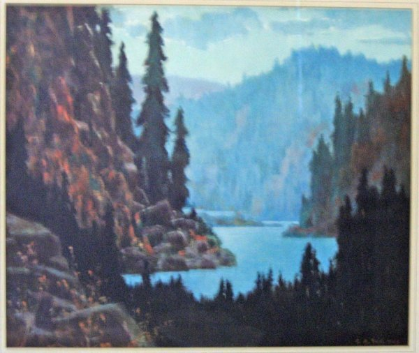 1437: (Mountain and Evergreen Landscape) C.A.Reid(n).,