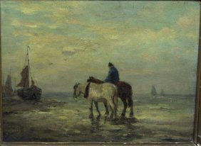 L. GOETHALS - ON THE BEACH WITH HORSES, 19th - 20