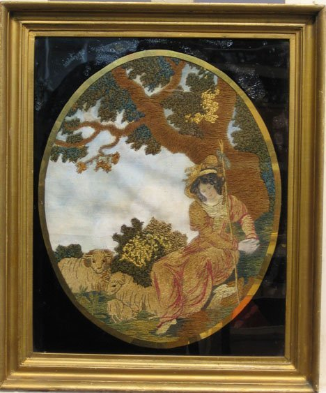 1442: SHEEP HERDER GIRL, 19th c., Oval needlework pictu