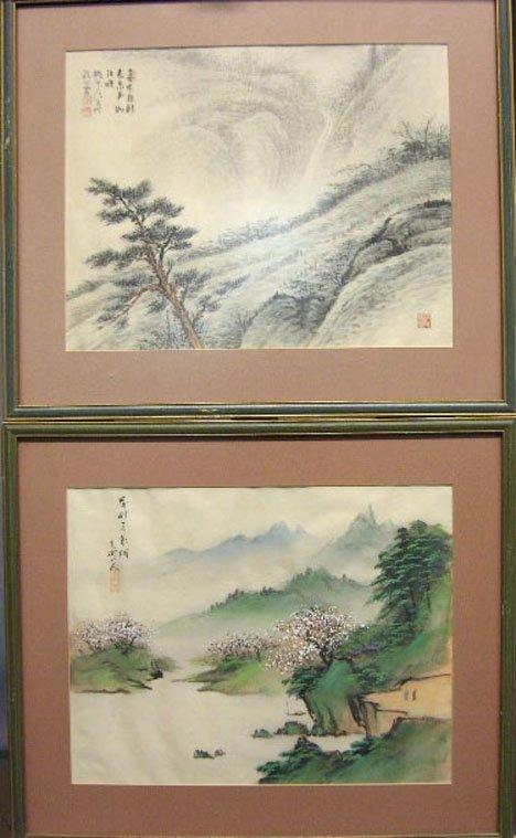 1443: TWO CHINESE LANDSCAPES, , Signed and stamped. Pai