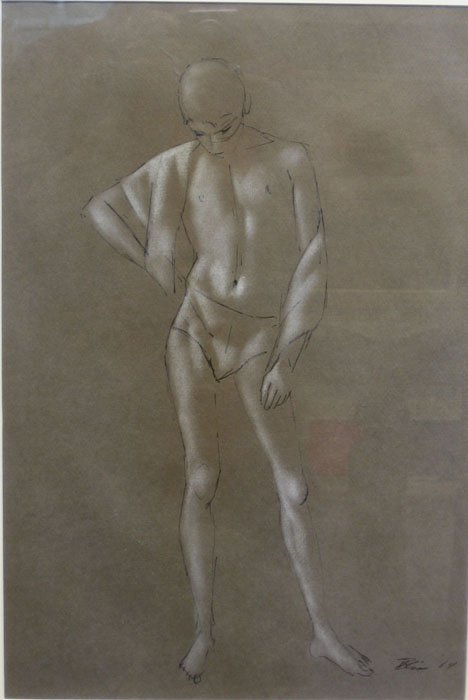 1445: SKETCH OF A STANDING BOY, , Signed and dated bott