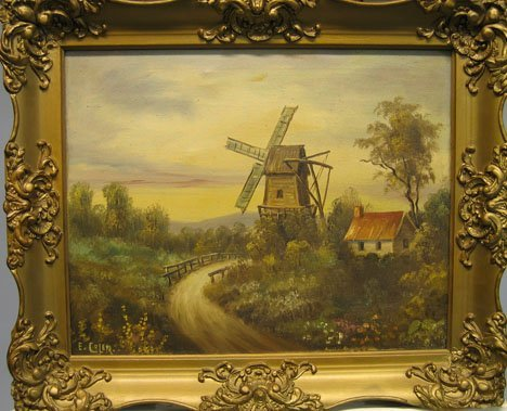 1449: WINDMILL IN LANDSCAPE, 19th c., Signed bottom lef