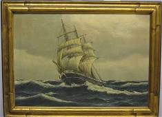 1576 SHIP AT SEA late 19th  early 20th c Signed lo