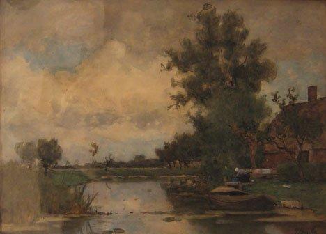 3017: VICTOR BAUFFE, (DUTCH 1849-1921), NEAR DELFT-HOLL
