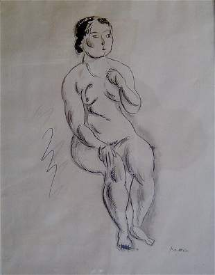 JULES PASCIN (French 1885-1930) SEATED FEMALE NUDE