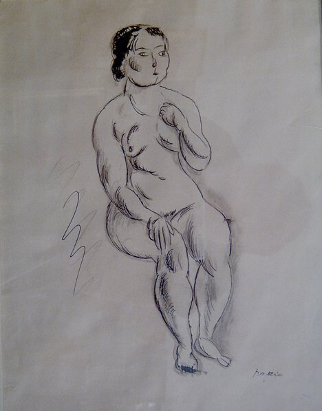 13: JULES PASCIN (French 1885-1930)  SEATED FEMALE NUDE