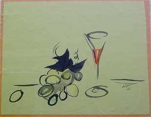 "EMLEN ETTING (American 1905-1993) WINE GLASS"" sig"