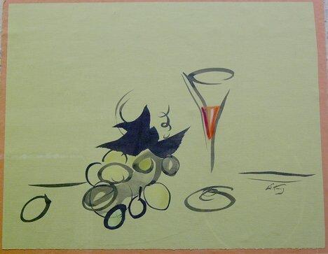 "18: EMLEN ETTING (American 1905-1993)  WINE GLASS""  sig"