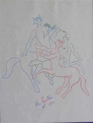 JEAN COCTEAU (French 1889-1963) FIGHTING CENTAURS