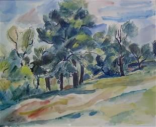LEON KELLY (American 1901-1982) SPRING LANDSCAPE