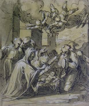 ITALIAN SCHOOL (17th-18th Century) ADORATION OF TH