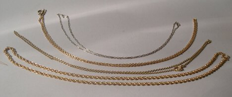 1001A: FOUR GOLD & GOLD-FILLED THIN NECK CHAINS
