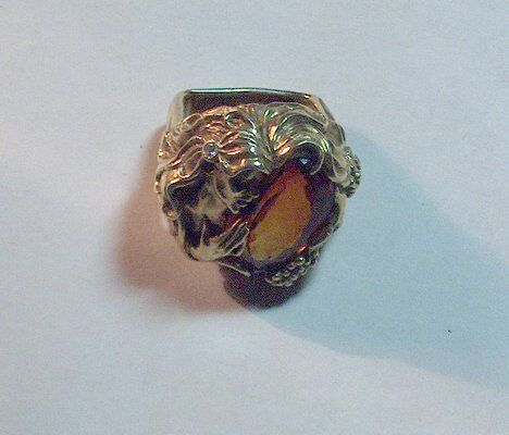 HEAVY YELLOW GOLD & OVAL CITRINE RING Oval facet