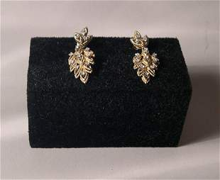 PAIR YELLOW GOLD 'LEAF' FORM DROP EARRINGS Each s