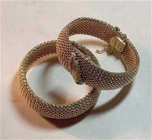 """TWO 14K YELLOW GOLD BRACELETS Solid bead"""" bands a"""
