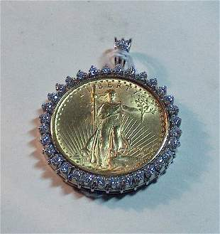 TWENTY DOLLAR U. S. GOLD PIECE & DIAMOND PENDANT