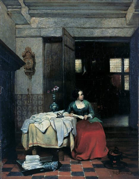 2020: HUBERTUS VAN HOVE (Dutch 1814-1865)  LADY IN INTE