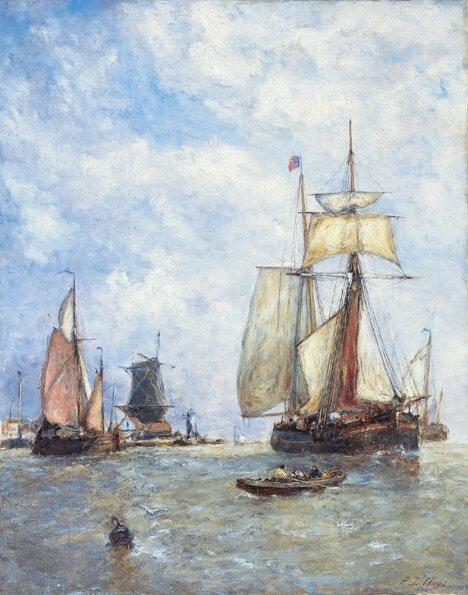 2021: PAUL JEAN CLAYS (Belgian 1819-1900)  SAILING SHIP