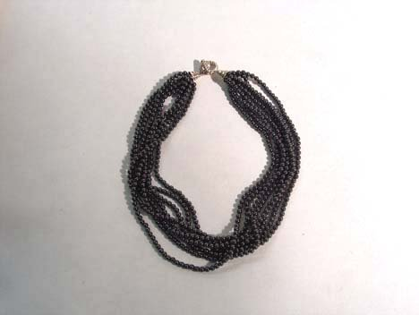 3007: HEMATITE BEAD 8-STRAND NECKLACE WITH STERLING SIL