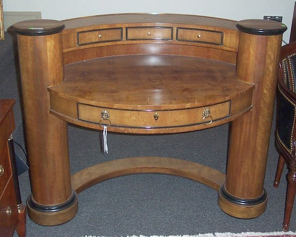 3327: WALNUT DESK Ovoid shaped, with 3 drawers over rec