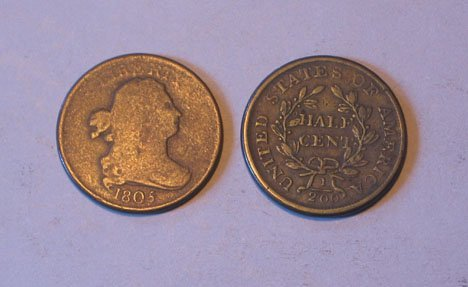 2: Two 1805 Half Cents, , Condition G.