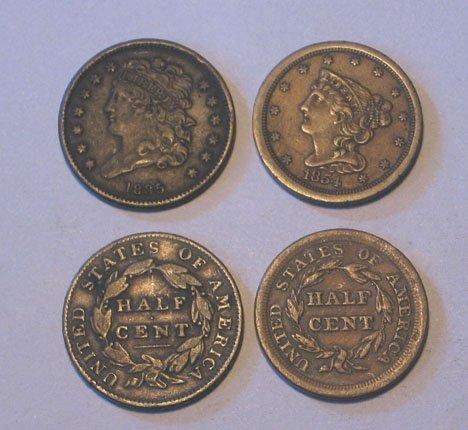 3: Twenty -Five U.S. Copper Half Cents, , 1804 G ( lett