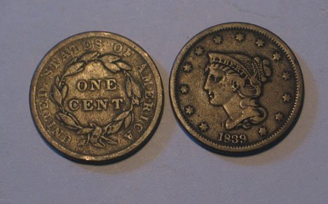 6: Forty U.S. Large Copper Cents, 1814 - 1843, 1822 AG,