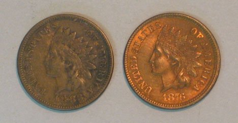 10: 1876 and 1883 Indian Head Cents, , !876 AU and 1883