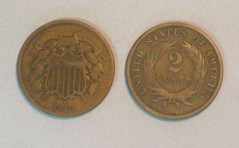 13: Twenty U.S. Copper Two Cent Pieces, , 1864 VG,1864