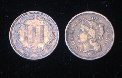 15: Twenty U.S. Nickel Three Cent Coins, , 1865 F, 1865