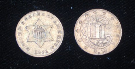 16: Twenty-five U.S. Silver Three Cent Pieces, , 1851 F