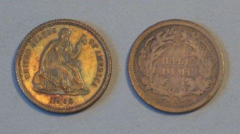 20: Two US half dimes, 1862 & 1887,