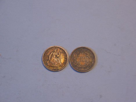 21: Twenty U.S. Half Dimes, 1842-1873, 1842 AG, 1843G,