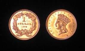 89: 1862 U.S. gold dollars, type III (2), ,