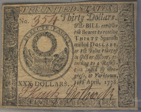 157: Continental Currency, , Thirty dollar note. April