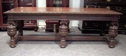2003: 17th century style carved oak refectory table, ,