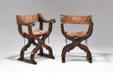 2012: Pair Italian x-form chairs, 17th century and late
