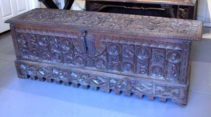2015A: Continental carved walnut coffer, 17th century &