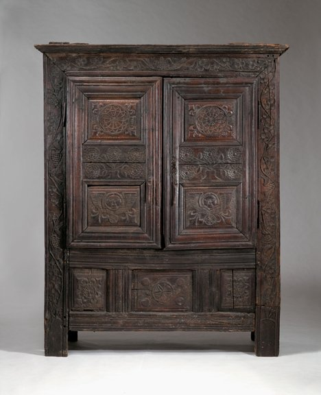 2018: French Baroque oak cupboard, 17th century, With f