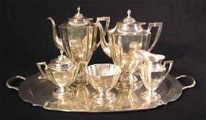 2366 Mexican sterling silver six piece tea and coffee