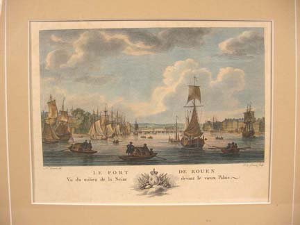 2588: Four framed hand-colored engravings by Ozanne and
