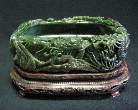 "2589: Large nephrite spinach jade"" brush washer, , Of o"