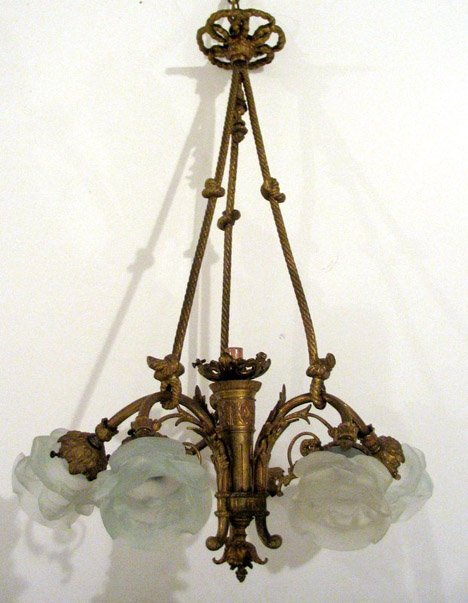 2594: Louis XVI style gilt bronze chandelier, early 20t