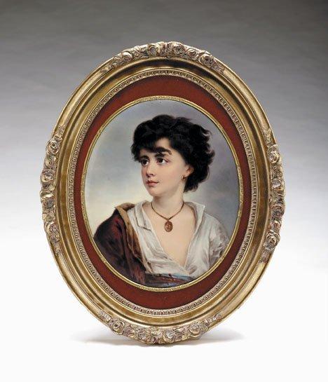 2595: KPM oval porcelain plaque, late 19th century, Dep