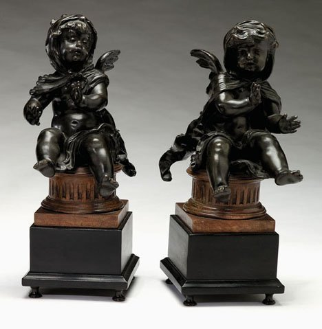 2598: Pair of French bronze figures, 19th century, Mode